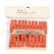 Mini Natural Wooden Clothespins Photo Paper Peg Pin Craft Clips with 2m Jute Twine, A