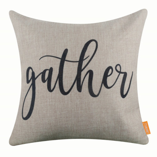"""18""""x18"""" Simple Black World Gather Burlap Pillow Cover Cushion Cover"""