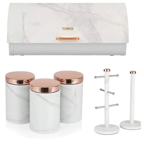 ROSE GOLD & WHITE MARBLE Effect Bread bin, 3 Canisters & Towel Pole & Mug Tree