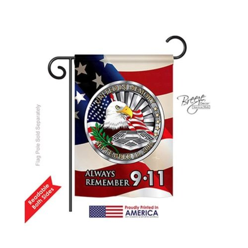 Breeze Decor 61063 Patriotic Always Remember 9 11 2-Sided Impression Garden Flag - 13 x 18.5 in.