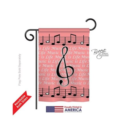 Breeze Decor 65082 School & Education Music is Life 2-Sided Impression Garden Flag - 13 x 18.5 in.