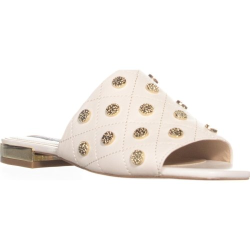 DKNY Roy Square Toe Block Heel Slide Sandals, Ivory, 4 UK