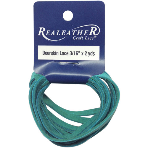 """Realeather Crafts Deerskin Lace .1875""""X2yd Packaged-Turquoise"""