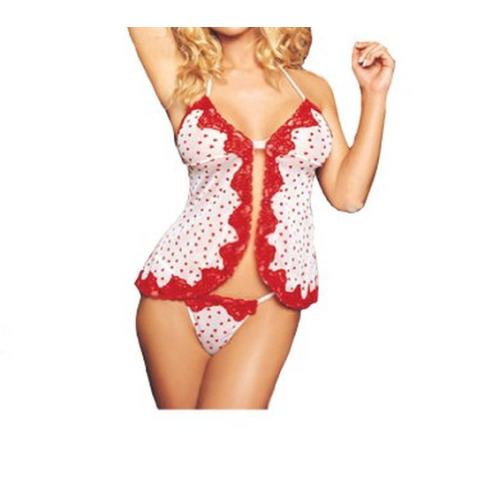 White & Red Hearts Mesh Babydoll with Sequined Lace Trim and Gstring One Size