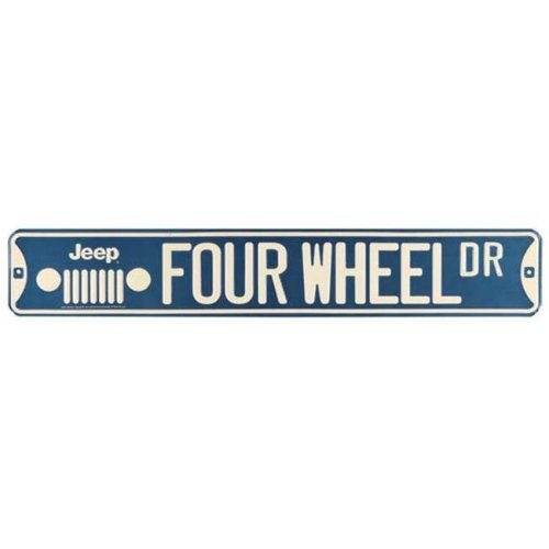 Jeep 90168451-S Four Wheel Embossed Tin Street Sign