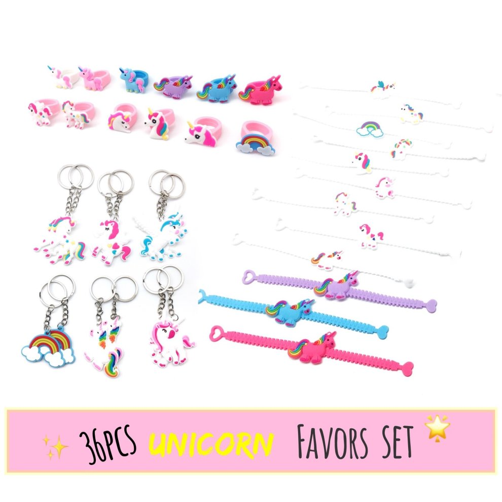 Meiliy Unicorn Party Supplies Birthday Favours Ring Bracelet Keyring Gift Bag Fillers For Kids And Adults 36pcs On OnBuy