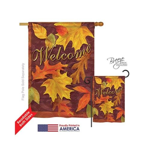 Breeze Decor 13047 Harvest & Autumn Fall Leaves 2-Sided Vertical Impression House Flag - 28 x 40 in.