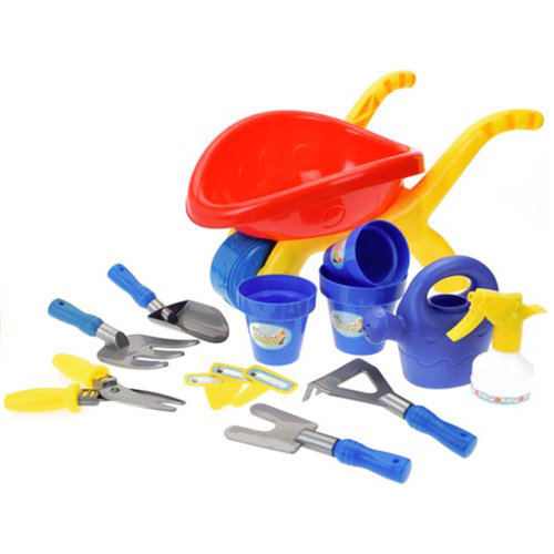14 Pieces Kids Plastic Garden Wheelbarrow Play Set