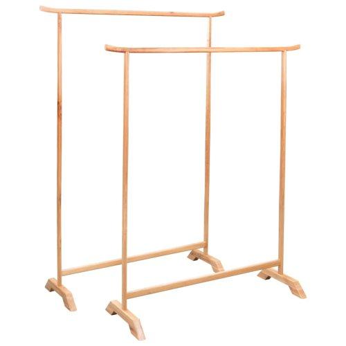 vidaXL Solid Oak Clothes Rack Set 2 Piece Garment Coat Holder Stand Hanger