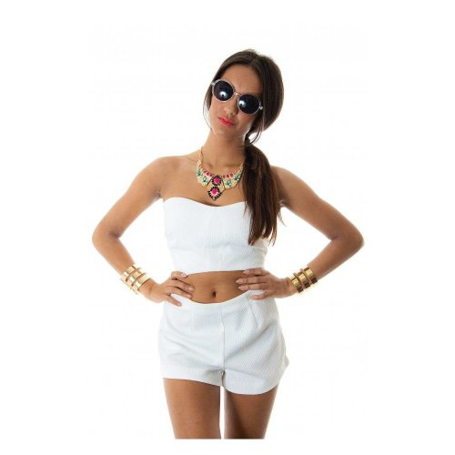 Double Impact Shorts & Bralet Top In White