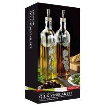 Large 500ml Set Of 2 World Of Flavours Italian Glass Oil And Vinegar Dispensers -  oil vinegar set glass italian bottles 2 world flavours
