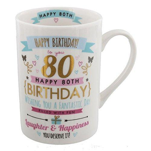 Juliana Signography 80th Birthday Ladies Pink and Gold Mug