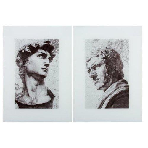 Benzara BM152711 Classic Sculptural Glass Print, Gray & Black