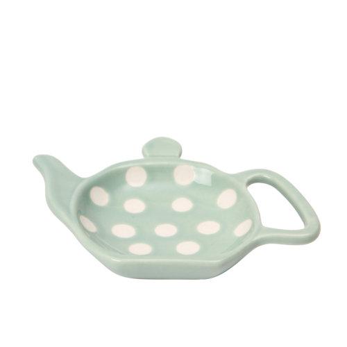 Dexam Polka Dot Tea Bag Holder, Sage Green