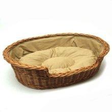 Medium Large Willow Dog Cat Pet Wicker Basket Light Colour Cushion