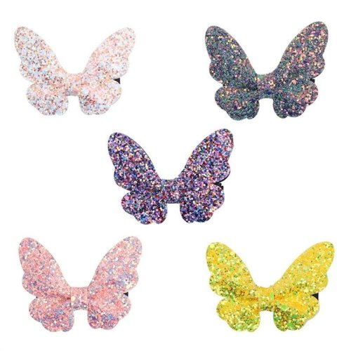5pcs Glitter Sequins Hair Clip Butterfly Shaped Hairpin Barrette for Party Daily Wear