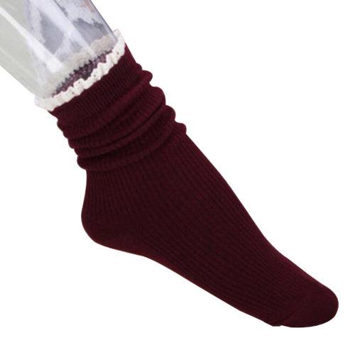 Fashion Boots Socks Crew Socks Soft Casual Socks Tube Socks-Wine red