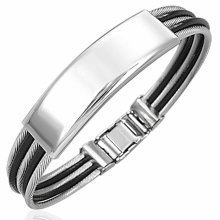 Urban Male Two Colour Stainless Steel Braided Wire ID Bangle Bracelet