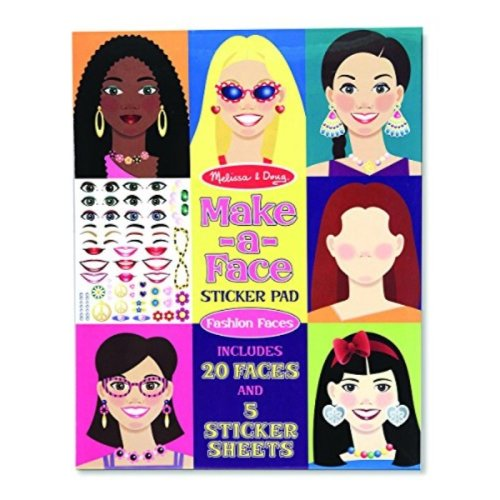 Melissa & Doug Make-a-Face Sticker Pad - Fashion Faces, 20 Faces, 5 Sticker Sheets