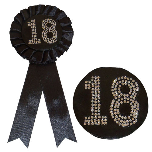 Black Birthday Rosette Badge with Diamante Number - 18th Birthday