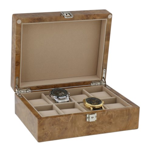 Watch Box for 8 Watches in Light Burl Wood with Solid Lid by Aevitas