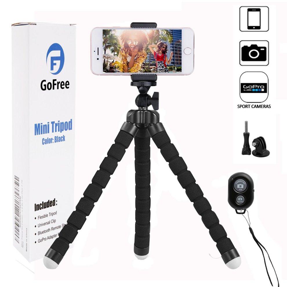 Phone Tripod, GoFree GoPro Tripod Portable Camera Mount Tripod with Remote  Shutter Desk Flexible Tripod for iPhone X 6 6s 5 5s Plus 7 7S 8 Plus SLR