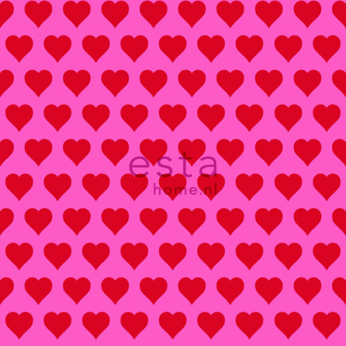 HD non-woven wallpaper hearts red and pink