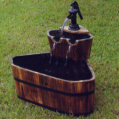 BARREL - Solid Wood Garden 2 Tier Fountain - Burntwood