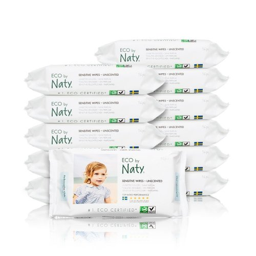 Naty by Nature Babycare ECO Unscented Sensitive Wipes - 12 x Packs of 56 (672 Wipes)