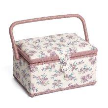 Hobbygift Classic Medium Sewing Basket - Chambray Rose - 18.5cm x 26cm x 16cm