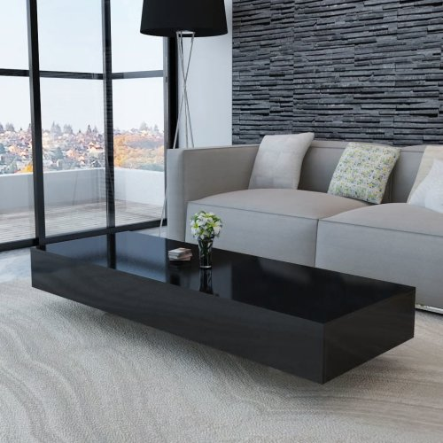 vidaXL Coffee Table High Gloss Black 115x55x31cm Modern Living Room Furniture