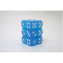Chessex 16mm D6 x 12 - Frosted Caribbean Blue/wh