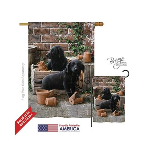 Breeze Decor 10007 Pets Black Lab Pups 2-Sided Vertical Impression House Flag - 28 x 40 in.