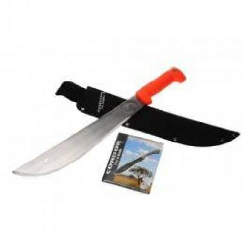 """Condor Eco-Survivor El Salvador Machete 18"""" Carbon Steel Polished Blade, Polypropylene Handles, Canvas Belt Sheath"""