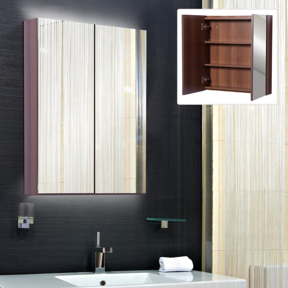 Kleankin Double Door Wall Mounted Glass Mirror Cabinet Modern