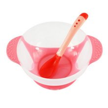 Baby Suction Bowl/ Feeding Bowl And Spoon Set, Pink
