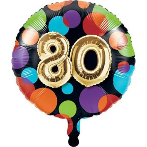 Creative Converting 332501 18 in  Metallic Round 80th Birthday Mylar Balloon
