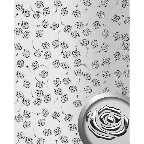 WallFace 13919 3D ROSE Wall panel punched flower metal look silver | 2.60 sqm