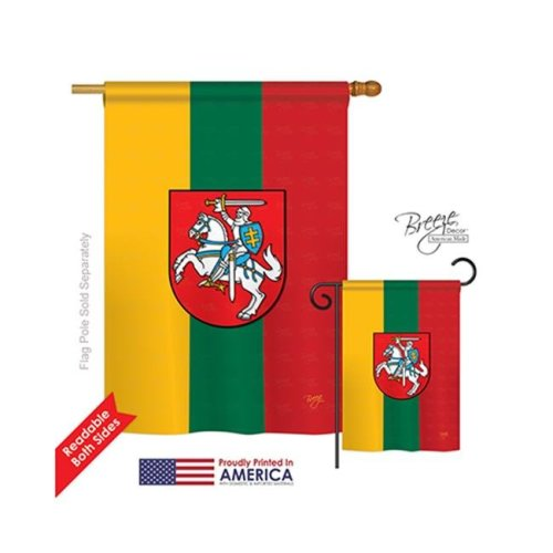 Breeze Decor 08198 Lithuania 2-Sided Vertical Impression House Flag - 28 x 40 in.
