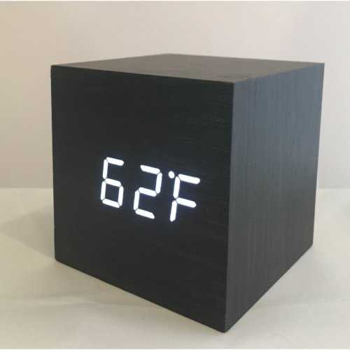 (Black with White LED) Wooden LED Box Clock | Sound-Activated Clock