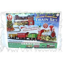 Christmas Express Train Set Battery Operated With Realistic Sound & Lights - -  train christmas set battery express sound 14pc light powered toy xmas