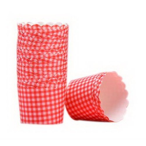 48 Pcs Red Lattice Pattern Muffin Cups Baking Cups Bread Paper Holders Cake Cups
