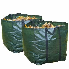 GLOW Set of 2 Heavy Duty Garden Waste Bags with Carry Handles – Large Reusable Premium Double Stitched 150L Collapsible Folding Lightweight Outdoor Home and Garden Collection Bin Sack for Refuse Rubbish Leaves Soil Grass Weeds Cuttings Plants Flowers