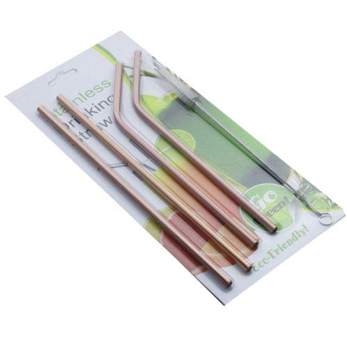 Drinks Straws Set Stainless Metal Straws - Pink