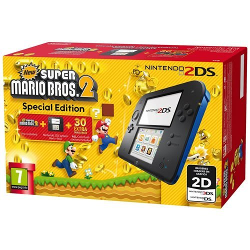 Nintendo 2DS Console Black/Blue with New Super Mario Bros 2 Game Pre-installed