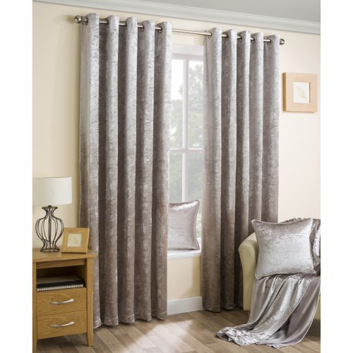 Velva Beige Crushed Velvet Eyelet Curtains