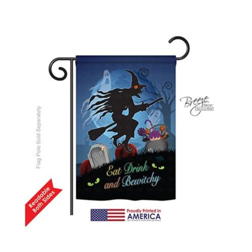 Breeze Decor 62005 Halloween Bewitchy 2-Sided Impression Garden Flag - 13 x 18.5 in.
