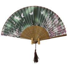 Beautiful Sakura Folding Hand Fan Silk Handheld Fan Bamboo, G