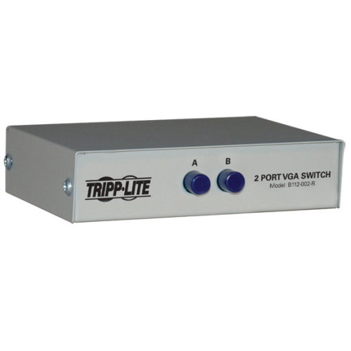 Tripp Lite 2-Port Manual Push Button VGA/SVGA Video Switch - Metal
