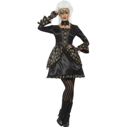 b0e8c56b125 Smiffy's 48030m Black And Gold Deluxe Masquerade Costume - adults fancy  dress venetian halloween costume deluxe masquerade ladies womens gothic